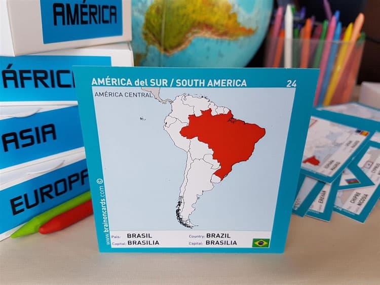 Países y capitales de América. Cartas para estudiar y memorizar ¡aprende jugando! con mapas. Brasil