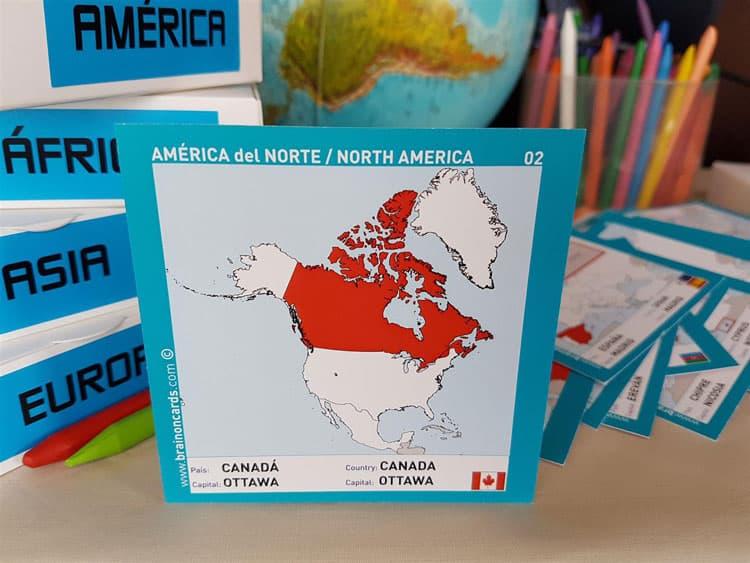 Países y capitales de América. Cartas para estudiar y memorizar ¡aprende jugando! con mapas. Canadá