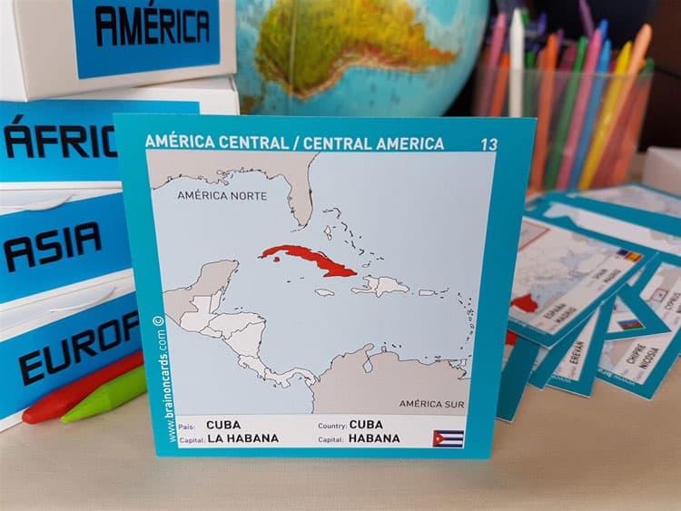 Países y capitales de América. Cartas para estudiar y memorizar ¡aprende jugando! con mapas. Cuba