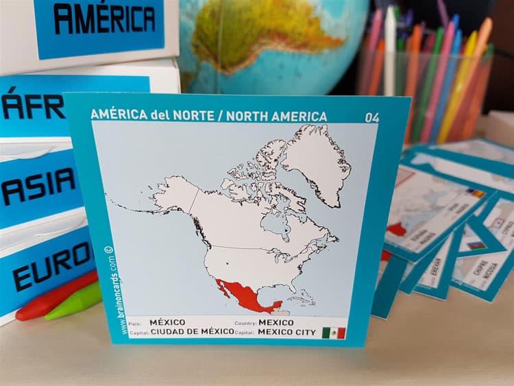 Países y capitales de América. Cartas para estudiar y memorizar ¡aprende jugando! con mapas. México
