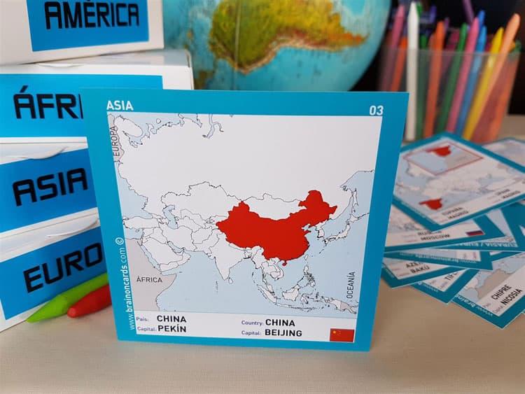 Países y capitales de Asia. Cartas para estudiar y memorizar ¡aprende jugando! con mapas. China