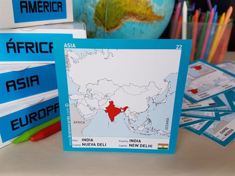 Países y capitales de Asia. Cartas para estudiar y memorizar ¡aprende jugando! con mapas. India