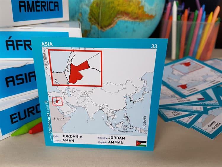 Países y capitales de Asia. Cartas para estudiar y memorizar ¡aprende jugando! con mapas. Jordania