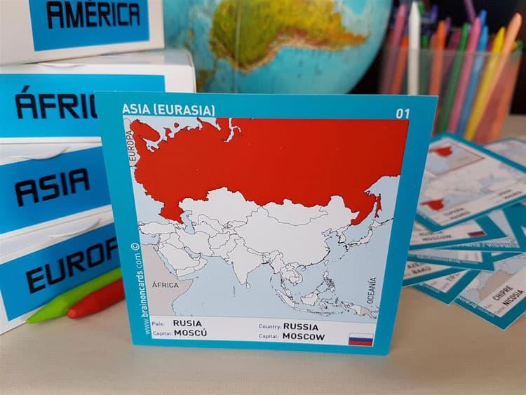 Países y capitales de Asia. Cartas para estudiar y memorizar ¡aprende jugando! con mapas. Rusia