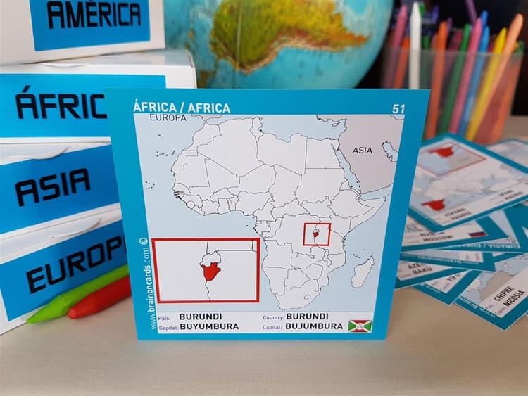 Países y capitales de Africa. Cartas para estudiar y memorizar ¡aprende jugando! con mapas. Burundi