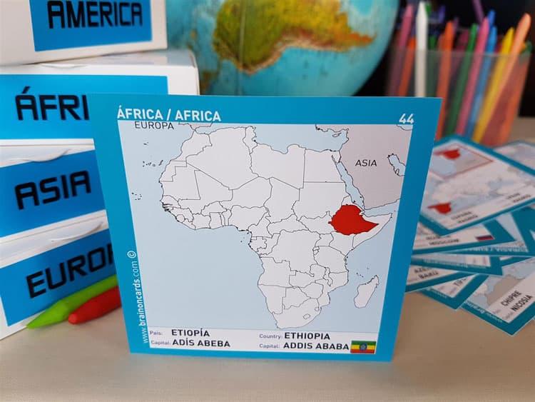 Países y capitales de Africa. Cartas para estudiar y memorizar ¡aprende jugando! con mapas. Etiopía