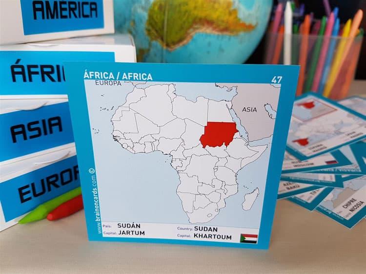 Países y capitales de Africa. Cartas para estudiar y memorizar ¡aprende jugando! con mapas. Sudán