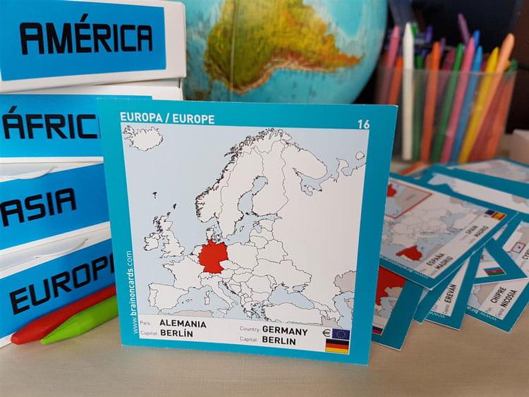 Países y capitales de Europa. Cartas para estudiar y memorizar ¡aprende jugando! con mapas. Alemania