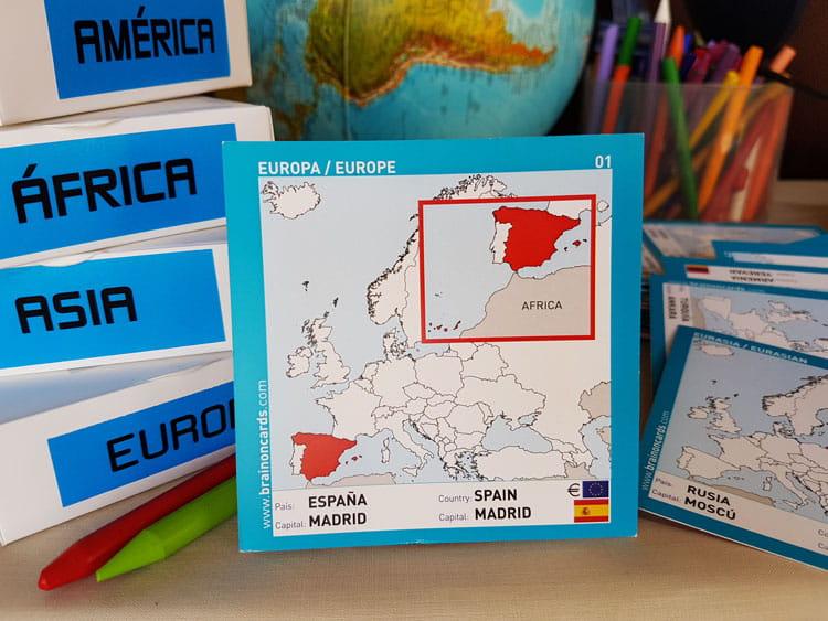 Países y capitales de Europa. Cartas para estudiar y memorizar ¡aprende jugando! con mapas. España