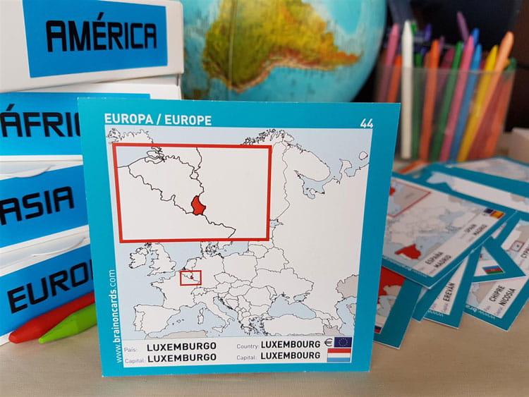 Países y capitales de Europa. Cartas para estudiar y memorizar ¡aprende jugando! con mapas. Luxemburgo