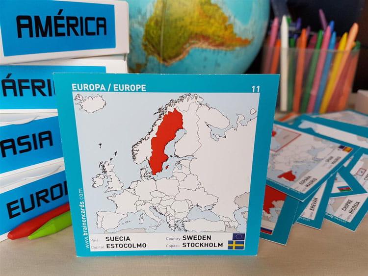 Países y capitales de Europa. Cartas para estudiar y memorizar ¡aprende jugando! con mapas. Suecia